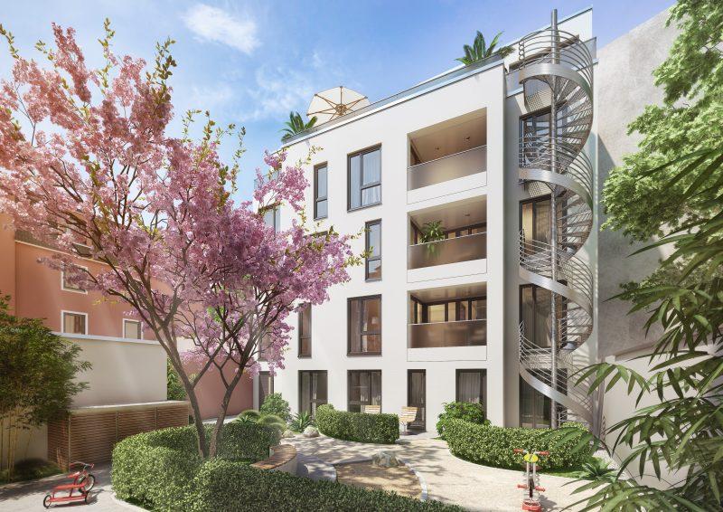 Apartmenthaus in der zweiten Reihe